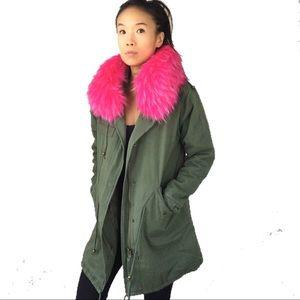 Faux fur collar hooded parka utility jacket